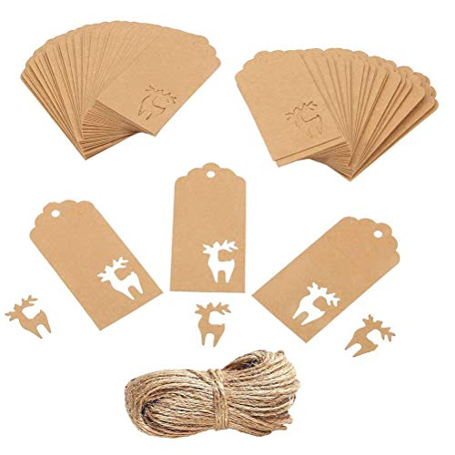 50/100 Christmas Kraft Paper Gift Tags Price Wedding Scallop Label Blank Luggage (Snowflake)