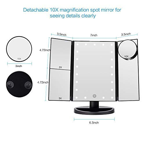 Auslese™ Vanity Makeup Cosmetic Mirror with 10X/3X/2X/1X Magnification, 22 LEDs Light Illuminated, Touch Screen 180 Degree Rotation Light Magnifying Mirrors for Travel (Black)