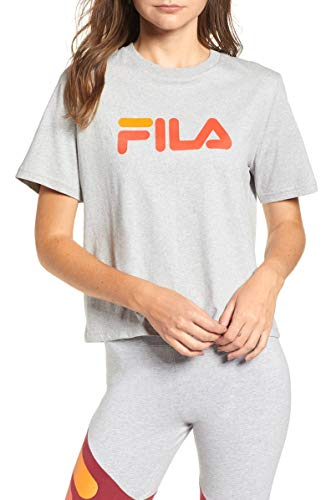 Fila Miss Eagle Women's Cotton Jersey Logo Short Sleeve T-Shirt Gray Size XS