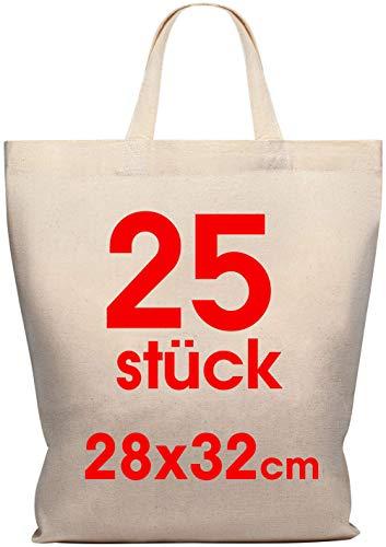 Baumwolltasche 28 x 32 cm 25 Stück - Jutebeutel mittel – Natur Apothekertasche, Tragetasche, Garn Beutel Geschenktasche ÖKO-TEX® geprüft Stofftasche unbedruckt, kurze Henkel zum bemalen und bedrucken
