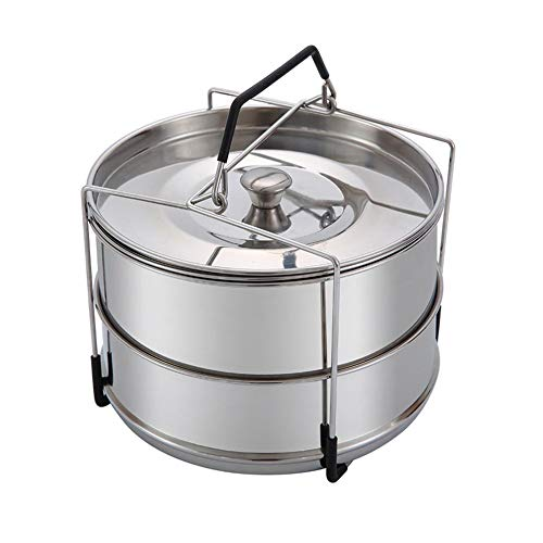 SHOH Stainless Steel Stackable Steamer, Insert Pans with Handle, Pressure Cooker Steamer Accessories 6 qt, Food Steamer for Vegetables, Rice, Pasta