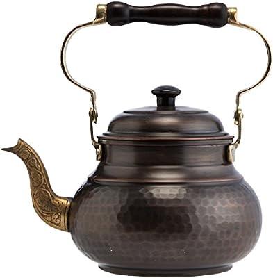 DEMMEX 1mm Thick Solid Hammered Copper Handmade Tea Pot Kettle Stovetop Teapot, 1.5Qts (Antiqued Copper)