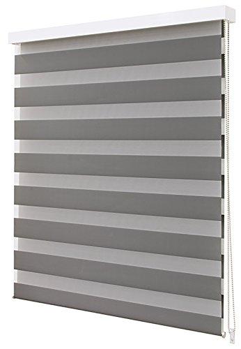 Stof dag & nacht Luxury venster jaloezieën Dark Grey in verschillende maten, 100% polyester, donkergrijs, 60cm x 210cm