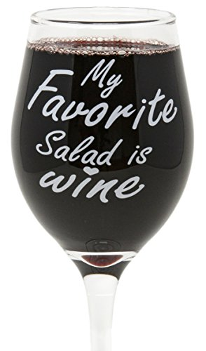 Funny Guy Mugs My Favorite Salad Is Wine Wine Glass, 11-Ounce - Unique Gift for Women, Mom, Daughter, Wife, Aunt, Sister, Girlfriend, Teacher or Coworker