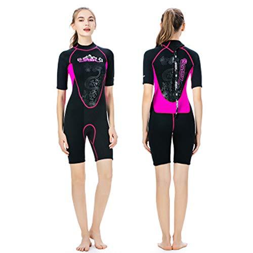 Shorty Neoprenanzug Frauen Kurzarm 3mm Neopren Warme Sonnencreme Qualle Wetsuits für Waterski Schnorchel Surf Tauchen Segeln Kayak,L