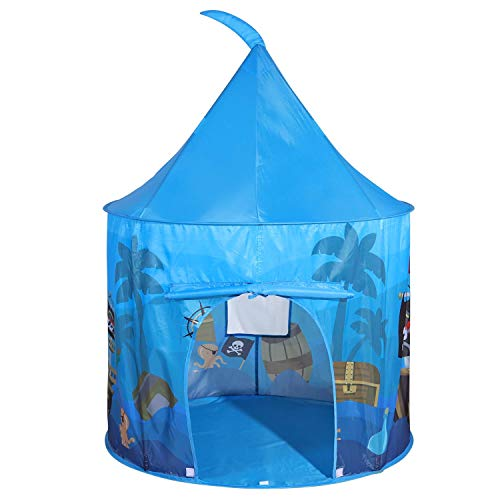 SOKA Play Tent Blue Pop Up Pirate Indoor or Outdoor Garden Playhouse Tent for Kids Childrens