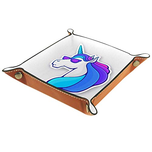 Bandeja de Valet Organizador de Escritorio Caja de Almacenamiento Cabeza de Unicornio de Cuero con Gafas de Sol Bandeja de Recogida para Uso doméstico