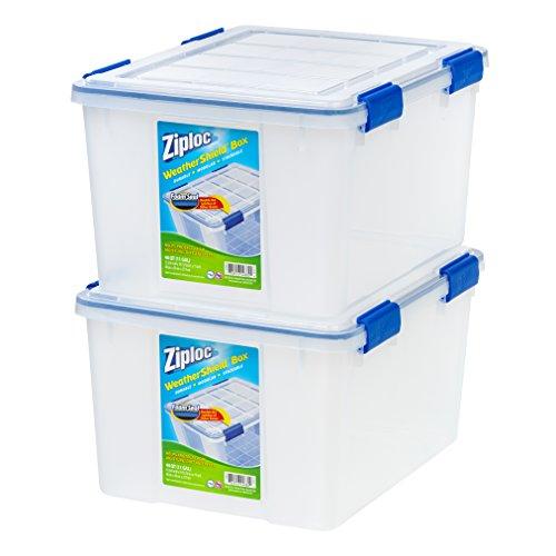 IRIS USA, Inc. WSB-SD Ziploc WeatherShield Storage Box, 44 Quart, Clear, 2 Pack