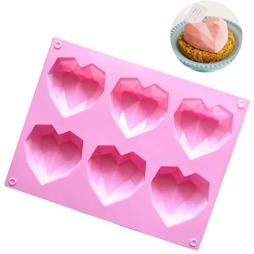 ZHYGDQ 6 CORAZÓN En Forma de sílice Gelatin Chocolate Burro de San Valentín Muffins Composites a la Parrilla con Rosa