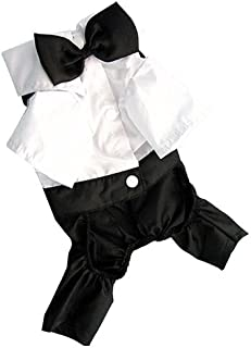 litymitzromq Pet Clothes for Dog Cat Puppy, Pet Dog Cat Clothes Prince Tuxedo Bow Tie Suit Puppy Costume Jumpsuit Coat S-XXL Cute for Small to Medium Puppy Cats Cool Summer Custom Vest