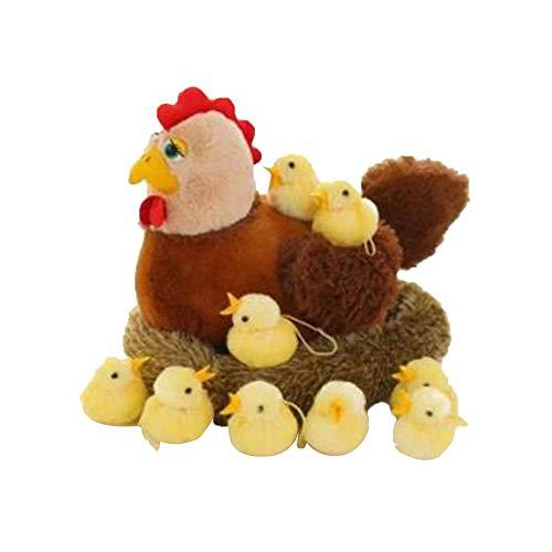 Soft stuffed toy Peluches gallinas Que Ponen Huevos muñecas Juguetes para Jugar en la casa nidos de gallinas gallinas Viejas con Pollos Fyxd