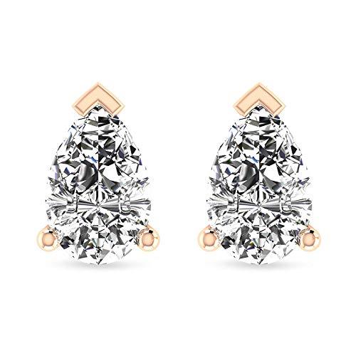 Aretes de perno de diamante en forma de pera de 1/2 ct solitario, gota de lágrima HI-SI, diamante de novia, boda, regalo de cumpleaños dorado 10K Oro blanco, Par