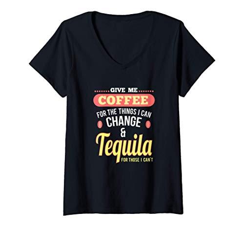 Damen Spaß Kaffee und Tequila Shots Margarita Drinks T-Shirt mit V-Ausschnitt