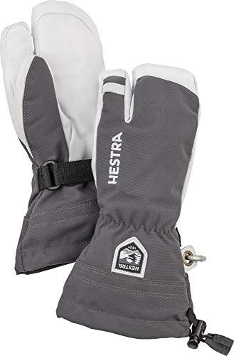 Hestra Jungen Kid's Army Leather Heli Ski 3 Finger HandschuheGrau/Schwarz 3