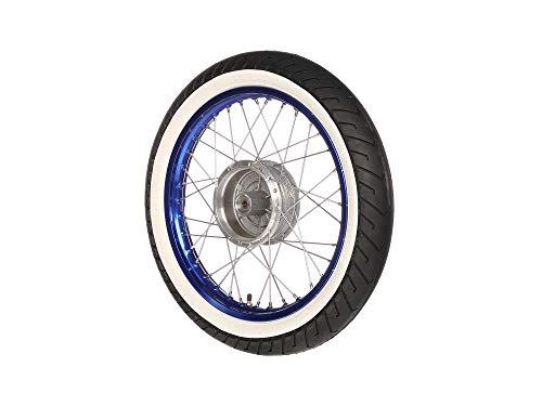 Komplettrad - VORNE - 1,5x16 Zoll - Alufelge blau eloxiert und poliert, Edelstahlspeichen - MITAS-Weißwandreifen MC2 montiert