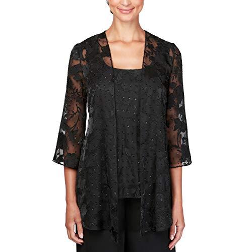 Alex Evenings Women's Plus Size Burnout Twinset Tank Top and Jacket, Black, 1X