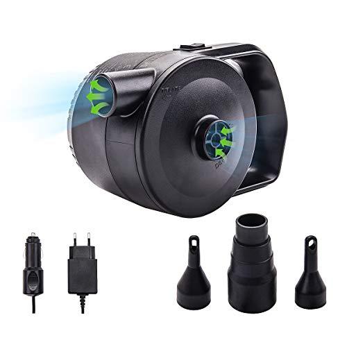 FOCHEA Elektrische Luftpumpe, Pumpe Luftmatratze 2 in 1 Elektrische Luftpumpen Schnellbefüllbarer Inflator-Deflator mit 3 Luftdüse für aufblasbare Matratze,Kissen,Bett,Boot,Schwimmring