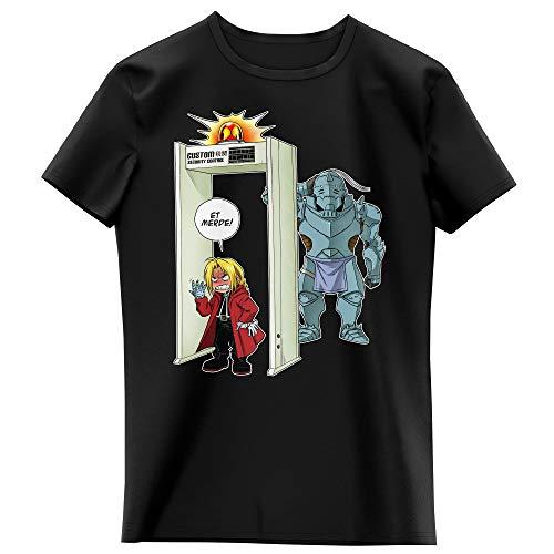 Okiwoki T-Shirt Enfant Fille Noir Parodie Full Metal Alchemist - FMA - Edward et Alphonse Elric - Détecteur de métaux ! (T-Shirt Enfant de qualité Premium de Taille 13-14 Ans - imprimé en France)