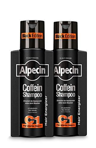 Alpecin Coffein-Shampoo C1 Black Edition – mit neuem Duft – Haarwachstum stimulierendes Haarshampoo mit Coffein - gegen erblich bedingten Haarausfall bei Männern – 2 x 250 ml