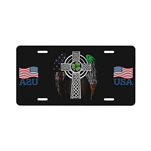Irish American USA Flag Celtic Cross St Patrick's Day License Plate Vanity Auto Car Tag for Decoration Label Art Custom License Plate 6x12 Inchs