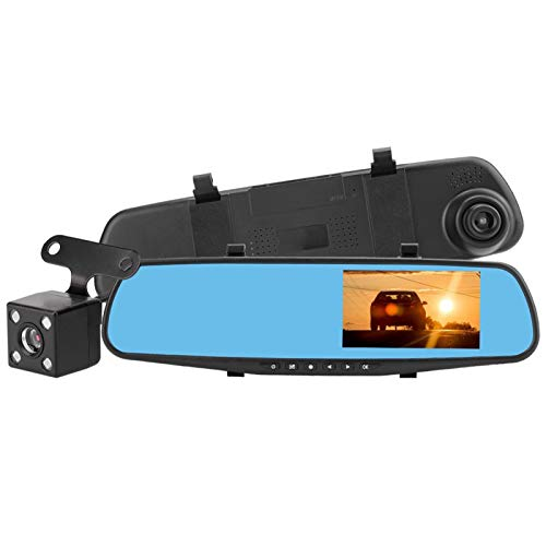 DAUERHAFT DVR para Coche, Impermeable, antivaho y antivibración, grabadora de vídeo de conducción, 4,3'Pulgadas, cámara de Coche con Doble Lente, Gran Angular de 90-110 °.