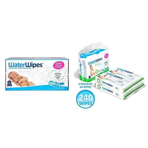 WaterWipes Unscented Baby Wipes, Sensitive and Newborn Skin, 9 Packs (540 Wipes) and WaterWipes Textured, Sensitive, Unscented Baby and Toddler Soapberry Wipes, 4 Packs (240 Wipes)