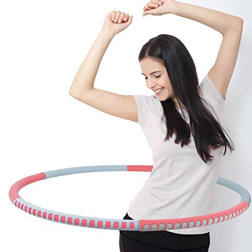 Tecktop Hula Reifen Erwachsene zur Gewichtsreduktion, Verbesserter Edelstahlkern Einstellbares Gewicht von 1,2 kg bis 3 kg für Abnehmen, Massage