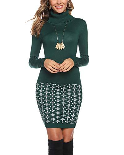 Abollria Vestito Maglione Donna Invernale Casual Vestito Collo Alto Aderente Abito Basic in Maglia con Manica Lunga, Verde, M