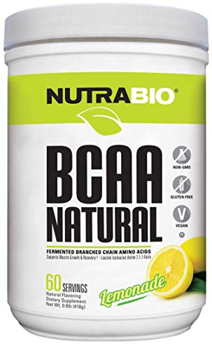 NutraBio BCAA 5000 Powder - Fermented Branched Chain Amino Acids for Muscle Growth & Recovery - Natural Flavors, Sweeteners, and Coloring, Vegan, Gluten Free - Lemonade, 60 Servings