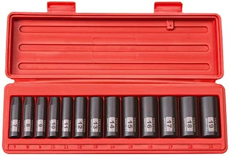 TEKTON 3/8 Inch Drive Deep 12-Point Impact Socket Set, 13-Piece (7-19 mm) | 47926
