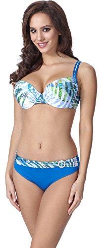 Feba Donna Modellante Corpo Push Up Bikini F01 (Motivo-336, EU Cup 80G / Parte Inferiore 40 = IT (Cup 3G / Parte Inferiore 46))