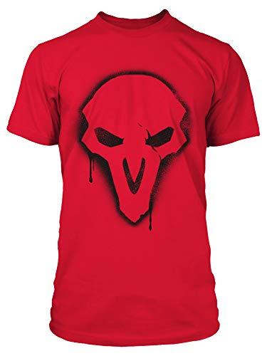 JINX Overwatch Reaper Spray Men's Gamer Tee Shirt, Fuji Red, Large
