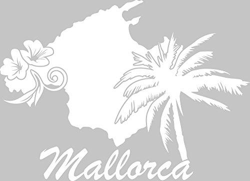 GRAZDesign Wandsticker Deko Aufkleber Mallorca - Deko Wohnzimmer modern Insel Spanien - Wandtattoo Palme Landkarte / 69x50cm / 010 Weiss