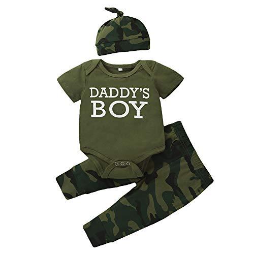 Shiningbaby Neugeborene Jungen Outfits Kleidung Set Baby Tarnkleidung Mama's Boy Langarm Strampler und Hose mit Hut 0-24 Monate (0-3 Monate, M-Daddy's Boy)