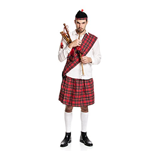 Kostümplanet® Schotten-Kostüm Herren Kilt + Mütze + Schärpe Schotte Karnevals-Kostüm große Größe 52/54