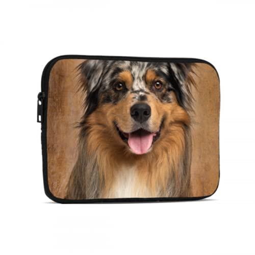Funda para iPad Pastor Australiano Azul Merle Perro Animal Funda para iPad Compatible con iPad 7.9/9.7 Pulgadas Funda Protectora de Neopreno a Prueba de Golpes con Cremallera y asa