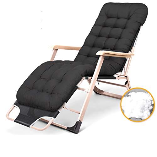 Chaises de Jardin Pliantes inclinables avec Coussinet pour Personnes Lourdes, Chaise de gravité zéro pour Le Camping, Voyage en Plein air, Noir, 150 kg