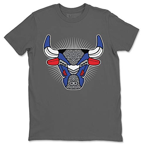 Bull Head Cool Grey T-Shirt Jordan 3 True Blue Sneaker Outfit - AJ3 Matching Top (Cool Grey/Large)