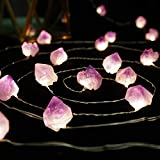BOHON Decorative Lights Plus Amethyst LED String Lights Battery Operated with Remote 10 ft 30 LEDs Natural Crystal String Lights for Bedroom Party Indoor Birthday Wedding Decor(Plus)
