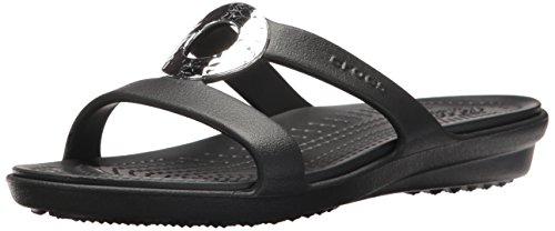 Crocs Women's Sanrah Hammered Metallic Sandal Black/Black 7 M US