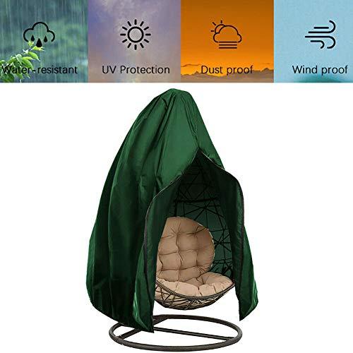 Patio Fauteuil Suspendu Couverture Egg Chair Couverture De PVC Doublure Balancelle Couverture Anti-Poussière Imperméable 210D Oxford Tissu Élastique Hem Tirettes (Gris, Vert) 2 Tailles,Vert,190x115cm