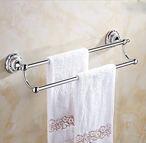 Estante de baño,Toallero de Porcelana con Flores de Color Toallero de Plata Dorada Completamente Morada Colgante de baño clásico