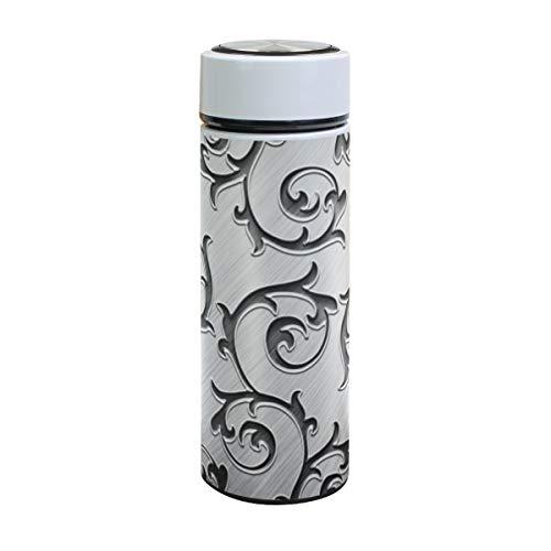 XiangHeFu Auslaufsicher Halten Sie kalt oder heiß Sport Reisebecher Metall Rattan Silber 17oz Wasserflasche Thermoskanne Businese