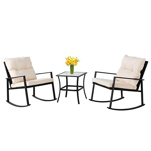 Shintenchi Outdoor 3 Piece Rocking Bistro Set Wicker Patio Outdoor Furniture Porch Chairs Conversation Sets with GlassTop Coffee Table for Backyard Porch Poolside Lawn GardenBlack