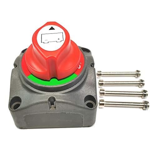 CandyTT Interruptor Maestro aislador de desconexión de 3 Posiciones 12-48v Interruptor de Apagado de Corte de energía de la batería para automóvil vehículo RV Barco Marino (Rojo)