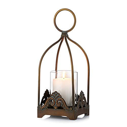 Sziqiqi - Portavelas de estilo clásico, diseño de huracán, estilo rústico para colgar velas, decoración de pared, decoración de mesa, boda, fiesta, centro de recepción, tamaño S