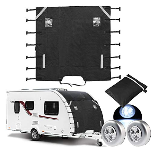 Mecozy Caravan Universal Front Towing Cover Oxford Waterproof Caravan Protector Covers Caravan Motorhome(220cm x 175cm/ 86.6in x 68.90in)