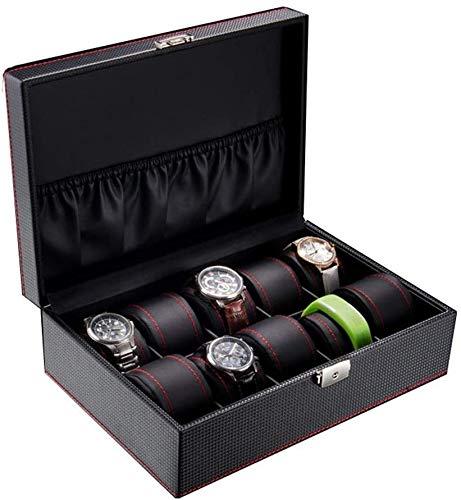 GTJF Cajas para Relojes Tapa Caja de Reloj de 10 Ranuras de Cristal con Cierre Reloj de Almacenamiento Caja de la Caja de visualización for los Regalos a la Familia (Size : 29.5 × 20.5 × 9.5 cm)