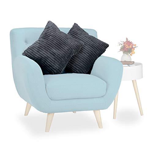 Relaxdays knuffelkussen set van 2, sofakussens met overtrek, deco-kussen pluizig, sierkussen, HxBxD: 15 x 40 x 40 cm, grijs