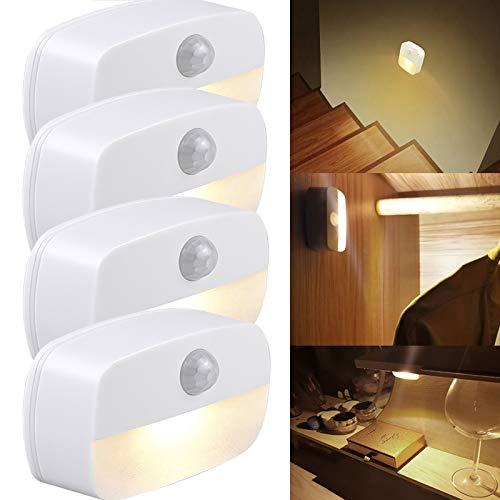 [4 Stück] LED Nachtlicht mit Bewegungsmelder, Warmweiß Nachtlampe Kind, Auto ON/OFF Schrankbeleuchtung mit Haftend, Orientierungslicht für Kinderzimmer, Schlafzimmer, Flur usw